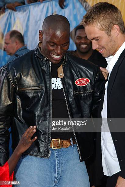 Tyrese and Paul Walker during 2003 MTV Movie Awards Arrivals at The Shrine Auditorium in Los Angeles California United States