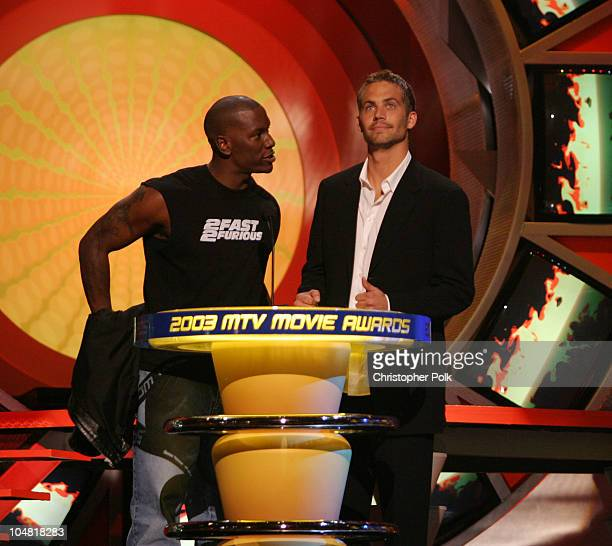 Tyrese and Paul Walker during 2003 MTV Movie Awards Show at The Shrine Auditorium in Los Angeles California United States