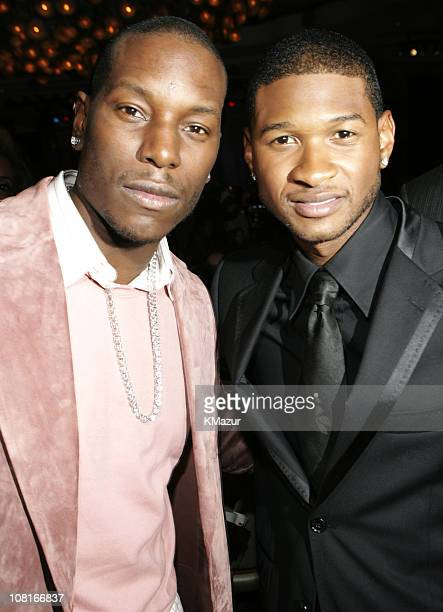 Tyrese and Usher during Clive Davis' 2005 PreGRAMMY Awards Party Dinner and Show at Beverly Hills Hotel in Beverly Hills California United States