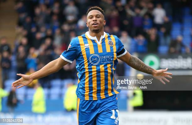 Tyrese Campbell of Shrewsbury Town celebrates after scoring a goal to make it 10 during the Sky Bet League One match between Shrewsbury Town and...