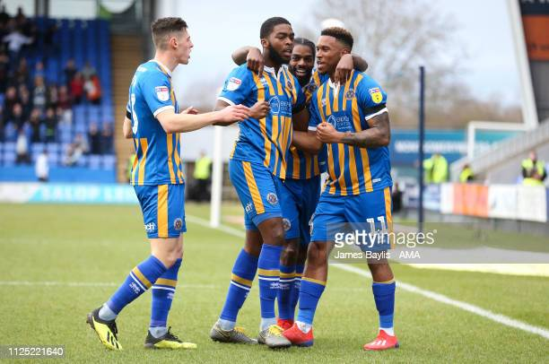 Tyrese Campbell of Shrewsbury Town celebrates with his team mates after scoring a goal to make it 10 during the Sky Bet League One match between...
