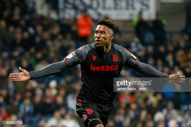 Tyrese Campbell of Stoke City celebrates after scoring a goal to make it 01 during the Sky Bet Championship match between West Bromwich Albion and...