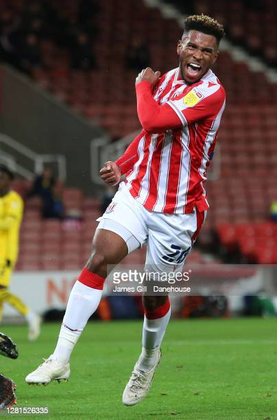 Tyrese Campbell of Stoke City celebrates after scoring their first goal during the Sky Bet Championship match between Stoke City and Barnsley at...