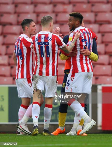 Tyrese Campbell of Stoke City celebrates after the Sky Bet Championship match between Stoke City and Brentford at Bet365 Stadium on October 24 2020...