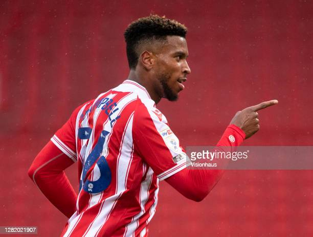Tyrese Campbell of Stoke City celebrates scoring the third goal during the Sky Bet Championship match between Stoke City and Brentford at Bet365...