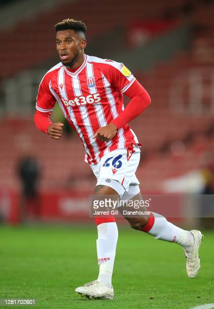Tyrese Campbell of Stoke City during the Sky Bet Championship match between Stoke City and Barnsley at Bet365 Stadium on October 21 2020 in Stoke on...