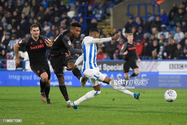 Tyrese Campbell of Stoke City scores his sides fourth goal during the Sky Bet Championship match between Huddersfield Town and Stoke City at John...