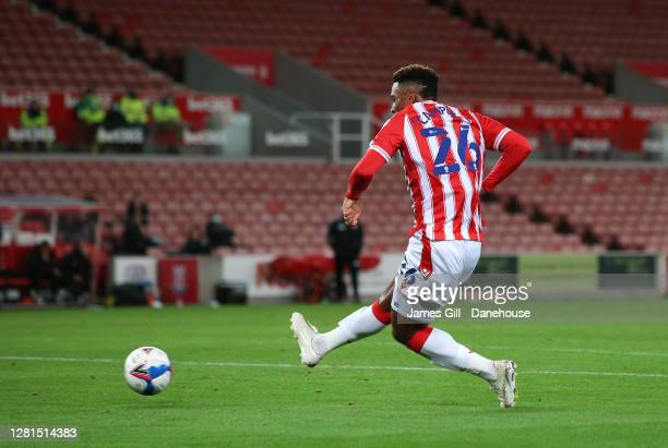 Tyrese Campbell of Stoke City scores their first goal during the Sky Bet Championship match between Stoke City and Barnsley at Bet365 Stadium on...