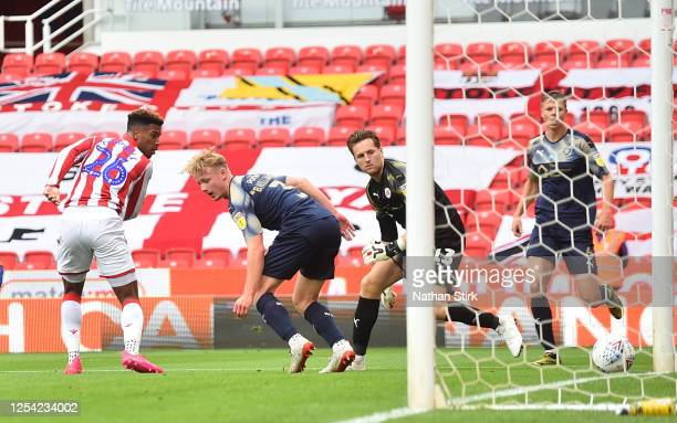 Tyrese Campbell of Stoke City scores their second goal of the game during the Sky Bet Championship match between Stoke City and Barnsley at Bet365...