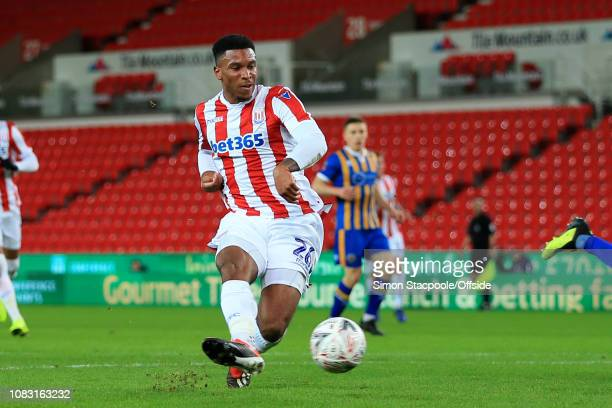 Tyrese Campbell of Stoke scores their 1st goal during the FA Cup Third Round Replay match between Stoke City and Shrewsbury Town at the Bet365...