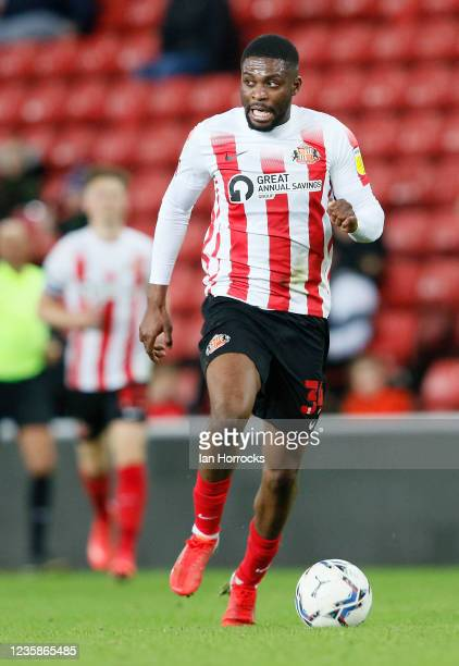 Tyrese Dyce of Sunderland during the Papa John's Trophy match between Sunderland and Manchester United at Stadium of Light on October 13, 2021 in...