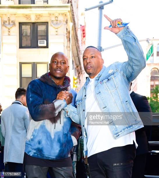 Tyrese Gibson and Deon Taylor are seen outside build studio on October 21 2019 in New York City