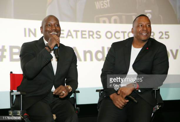 Tyrese Gibson and Deon Taylor speak during the QA for Black and Blue on day four of the 2019 Urban World Film Festival on September 21 2019 in New...