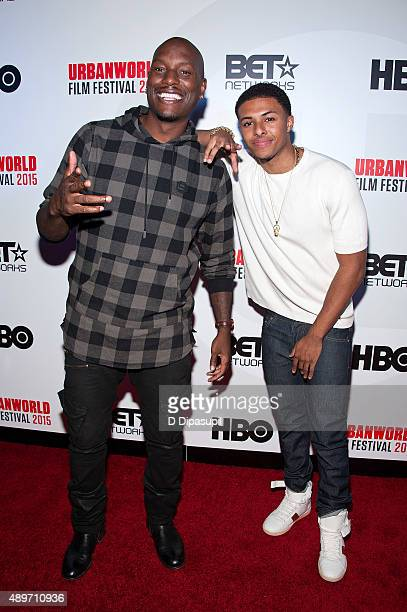 Tyrese Gibson and Diggy Simmons attend Muhammad Ali The People's Champ during opening night of the 2015 Urbanworld Film Festival at AMC Empire 25...