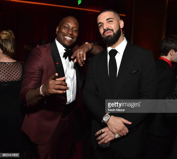 Tyrese Gibson and Drake attend the Netflix Golden Globes after party at Waldorf Astoria Beverly Hills on January 7 2018 in Beverly Hills California