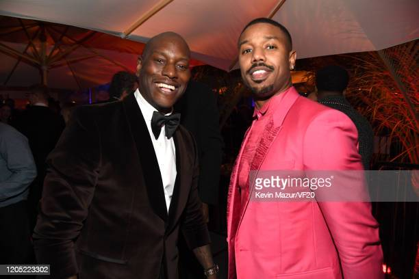 Tyrese Gibson and Michael B Jordan attend the 2020 Vanity Fair Oscar Party hosted by Radhika Jones at Wallis Annenberg Center for the Performing Arts...