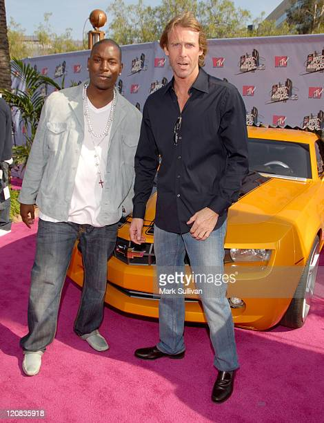 Tyrese Gibson and Michael Bay during 2007 MTV Movie Awards GM Arrivals at Gibson Amphitheatre in Universal City California United States