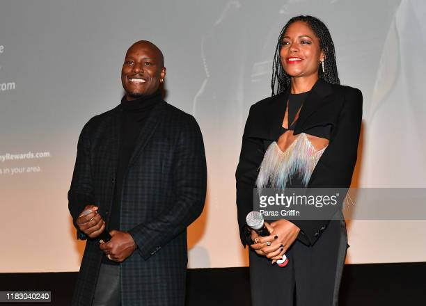 Tyrese Gibson and Naomie Harris speak onstage during Black and Blue Atlanta special screening at The Plaza Theatre on October 23 2019 in Atlanta...