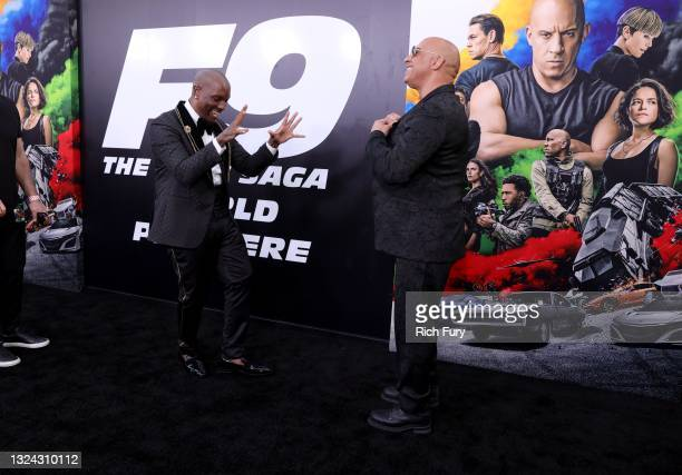 """Tyrese Gibson and Vin Diesel attend the Universal Pictures """"F9"""" World Premiere at TCL Chinese Theatre on June 18, 2021 in Hollywood, California."""
