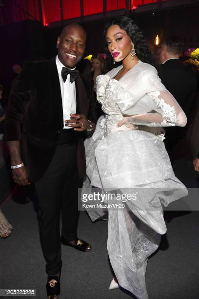 Tyrese Gibson and Winnie Harlow attend the 2020 Vanity Fair Oscar Party hosted by Radhika Jones at Wallis Annenberg Center for the Performing Arts on...