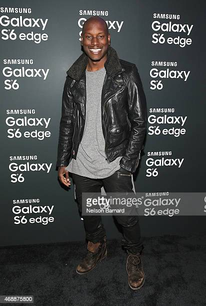 Tyrese Gibson arrives on the red carpet at the Samsung Galaxy S 6 edge launch in New York City on April 7 2015 in New York City