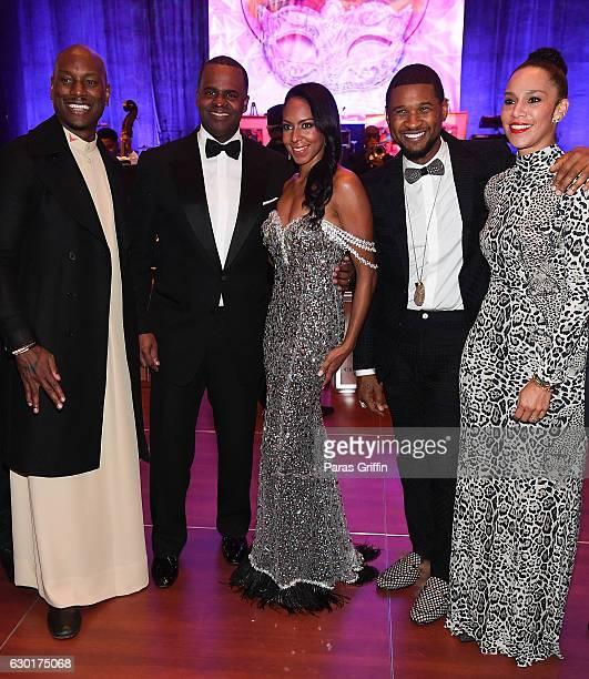 Tyrese Gibson, Atlanta mayor Kasim Reed, Sarah Elizabeth Reed, Usher Raymond, and Grace Miguel attend 33rd Annual UNCF Mayor's Masked Ball at Atlanta...
