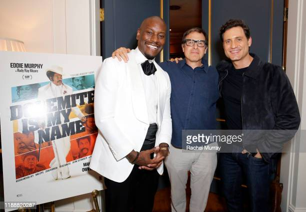 Tyrese Gibson David O Russell and Édgar Ramírez attend the 'Dolemite Is My Name' John Davis Hosted Tastemaker at a Private Residence on November 19...