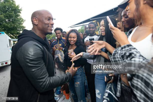 Tyrese Gibson greets fans during the Black Blue cast members' visit to Morehouse College on October 24 2019 in Atlanta Georgia