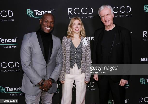 Tyrese Gibson Léa Seydoux and Director James Cameron attend Red Carpet Green Dress at the Private Residence of Jonas Tahlin CEO of Absolut Elyx on...