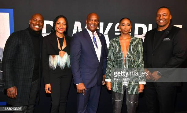 Tyrese Gibson Naomie Harris Lucky Johnson Nafessa Williams and Deon Taylor attend Black and Blue Atlanta special screening at The Plaza Theatre on...