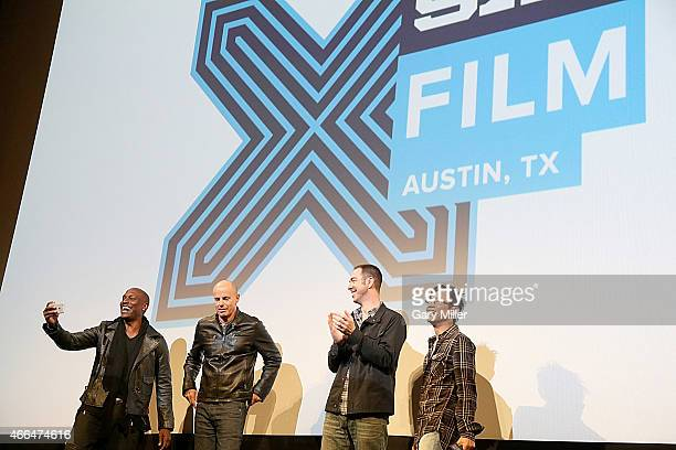 Tyrese Gibson Neal Moritz Chris Morgan and James Wan attend the world premiere of 'Furious 7' at the Paramount Theater during the South by Southwest...