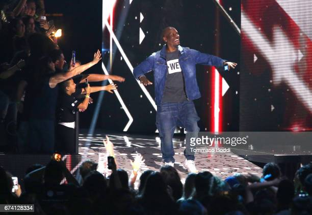 Tyrese Gibson speaks onstage at WE Day California to celebrate young people changing the world at The Forum on April 27 2017 in Inglewood California
