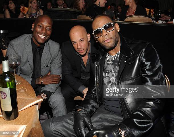 Tyrese Gibson Vin Diesel and R Kelly attend the 56th annual GRAMMY Awards PreGRAMMY Gala and Salute to Industry Icons honoring Lucian Grainge at The...