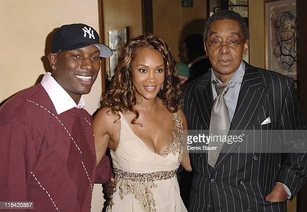Tyrese Gibson Vivica A Fox and Don Cornelius during 20th Annual Soul Train Music Awards Nominations at Spago in Beverly Hills California United States