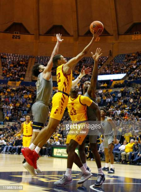 Tyrese Haliburton of the Iowa State Cyclones drives to the rim against the West Virginia Mountaineers at the WVU Coliseum on February 5 2020 in...