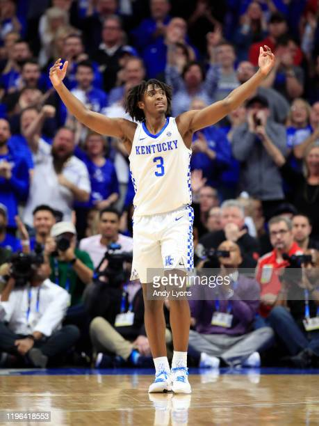 Tyrese Maxey of the Kentucky Wildcats celebrates during the2 78-70 OT win against the Louisville Cardinals at Rupp Arena on December 28, 2019 in...