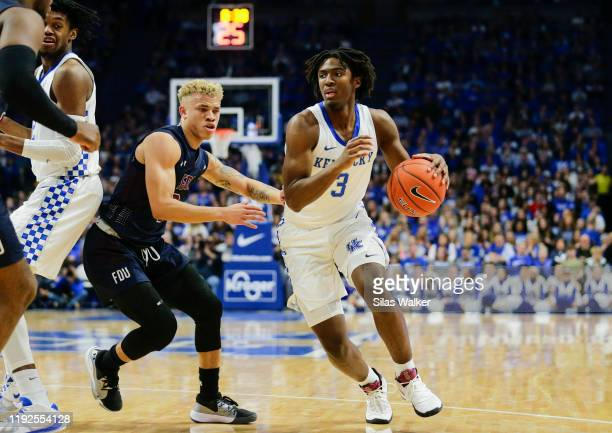 Tyrese Maxey of the Kentucky Wildcats dribbles the ball against Fairleigh Dickinson Knights during the first half of the game at Rupp Arena on...