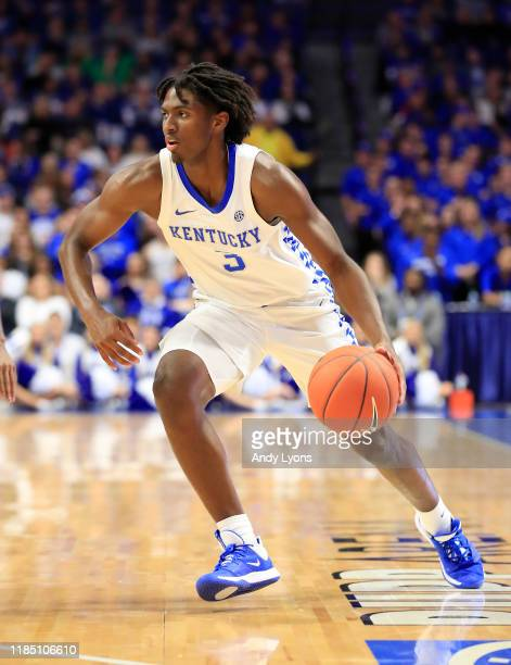 Tyrese Maxey of the Kentucky Wildcats dribbles the ball against the Kentucky State Thorobreds at Rupp Arena on November 01 2019 in Lexington Kentucky