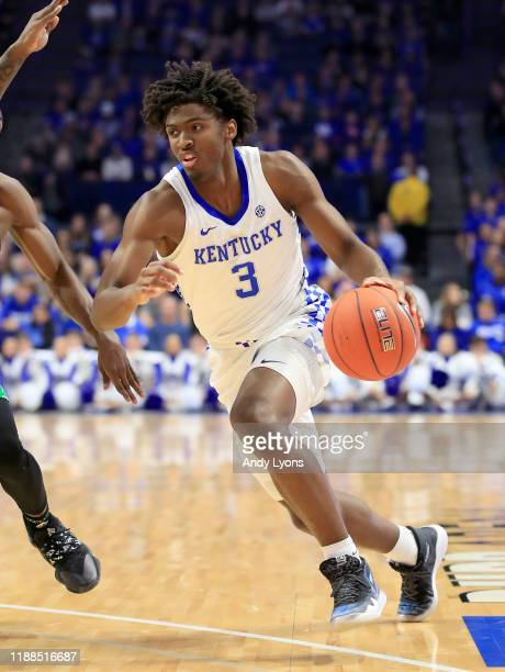Tyrese Maxey of the Kentucky Wildcats dribbles the ball against the Utah Valley Wolverines at Rupp Arena on November 18, 2019 in Lexington, Kentucky.