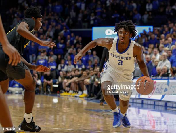 Tyrese Maxey of the Kentucky Wildcats dribbles the ball during the game against the Missouri Tigers at Rupp Arena on January 4, 2020 in Lexington,...