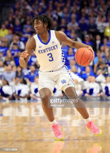 Tyrese Maxey of the Kentucky Wildcats dribbles the ball in the 76-67 win against the Alabama Crimson Tide at Rupp Arena on January 11, 2020 in...