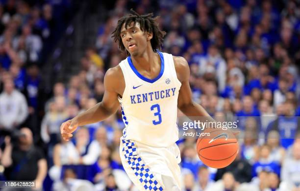 Tyrese Maxey of the Kentucky Wildcats dribbles the ball in the game against the Eastern Kentucky Colonels at Rupp Arena on November 08 2019 in...