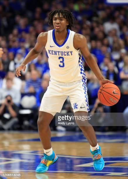 Tyrese Maxey of the Kentucky Wildcats dribbles the ball in the game against the Ole Miss Rebels at Rupp Arena on February 15, 2020 in Lexington,...