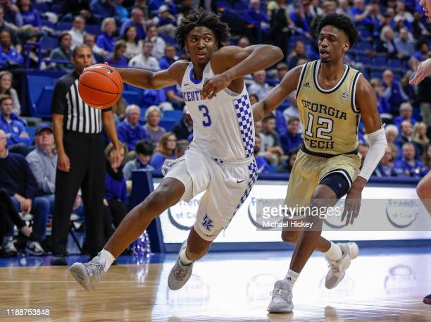 Tyrese Maxey of the Kentucky Wildcats drives to the basket as Khalid Moore of the Georgia Tech Yellow Jackets defends during the second half at Rupp...