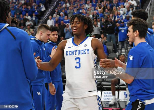 Tyrese Maxey of the Kentucky Wildcats is introduced before a game against the Utah Utes during the annual Neon Hoops Showcase benefiting Coaches vs....