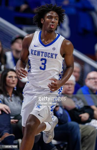 Tyrese Maxey of the Kentucky Wildcats is seen during the game against the Georgia Tech Yellow Jackets at Rupp Arena on December 14, 2019 in...
