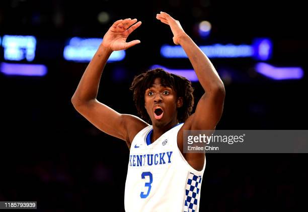 Tyrese Maxey of the Kentucky Wildcats reacts in the second half of their game against the Michigan State Spartans at Madison Square Garden on...