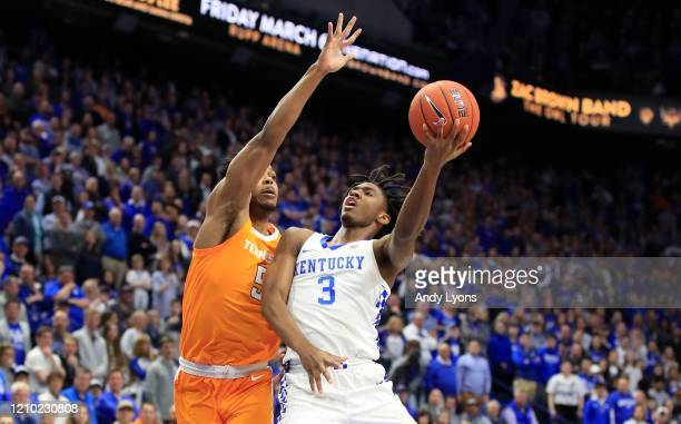 Tyrese Maxey of the Kentucky Wildcats shoots the ball against against the Tennessee Volunteers at Rupp Arena on March 03, 2020 in Lexington, Kentucky.