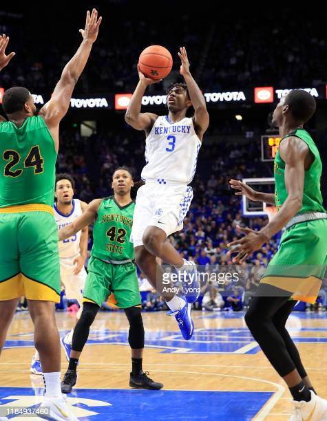 Tyrese Maxey of the Kentucky Wildcats shoots the ball against the Kentucky State Thorobreds at Rupp Arena on November 01 2019 in Lexington Kentucky