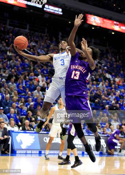 Tyrese Maxey of the Kentucky Wildcats shoots the ball against the Evansville Aces at Rupp Arena on November 12 2019 in Lexington Kentucky